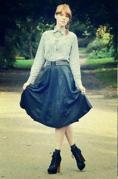 Vickysmodeblog: Outfit: Midi Leather Skirt und fucking Schreibblockade