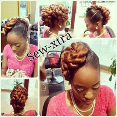 Updo shared by - Sew-xtra styles by shonb on FB - To grow your hair longer click here - http://blackhair.cc/PVCB28