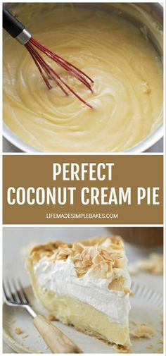 This perfect coconut cream pie is made completely from scratch. It's cool and creamy with whipped cream and toasted coconut on top. Just Desserts, Delicious Desserts, Yummy Food, Vegan Desserts, Coconut Recipes, Baking Recipes, Nutella Recipes, Vegan Recipes, Best Coconut Cream Pie