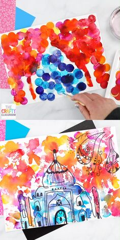 This Taj Mahal Art Project for Kids is STUNNING and only requires a few art materials that you might already have in your art closet. Find more India Crafts for Kids at Pair this beauty with a unit study on India for a rounded out homeschool lesson. Spring Art Projects, Projects For Kids, Crafts For Kids, Art Project For Kids, Kratz Kunst, Firework Painting, Dot Painting, Taj Mahal, India Crafts