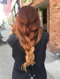 Red hair. Ombré. Braid.