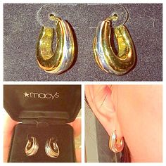 [[Macy's 14kt White & Yellow Gold Hoop Earrings. Price: $290]] Gorgeous small two-toned 14kt yellow & white gold earrings from Macy's. Comes in original box, & earring holder. Authentic, & never went out of style. Would make a perfect gift or treat for yourself. Have owned these for more than 5 years, & they have retained their value & their gorgeous two toned color, no rusts. Definitely worth the buy! A timeless, classic piece.