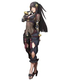 black_hair breasts cleavage fire_emblem fire_emblem_heroes full_body highres large_breasts long_hair official_art rhajat_(fire_emblem) solo syalla_(fire_emblem_if) transparent_background Fantasy Character Design, Character Design Inspiration, Character Concept, Character Art, Fantasy Characters, Female Characters, Anime Characters, Art Anime, Anime Art Girl