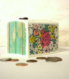 Flowers Wood Bank, Kids Money Banks Coin Bank, Flower Garden, Botanical Room Decor, Nursery, Cottage, Girl Coin Box by Mmim on Etsy