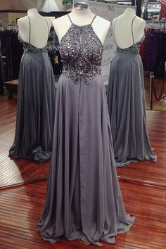 Prom Dresses,Evening Dress,A-line Long Chiffon Beaded Prom Dress,