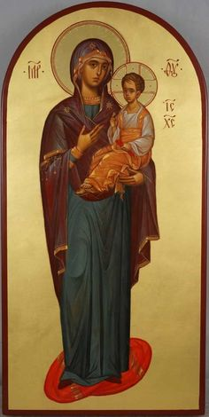 High quality hand-painted Orthodox icon of Theotokos Hodegetria (full body). BlessedMart offers Religious icons in old Byzantine, Greek, Russian and Catholic style. Byzantine Icons, Byzantine Art, Religious Icons, Religious Art, Paint Icon, Queen Of Heaven, Blessed Mother Mary, Madonna And Child, Orthodox Icons
