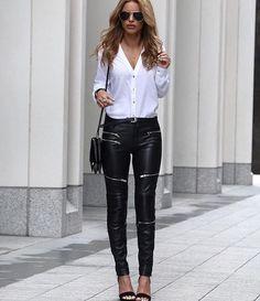 """Zara leather pants #zara"""