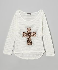 Look at this #zulilyfind! Ivory Stripe Leopard Cross Top #zulilyfinds