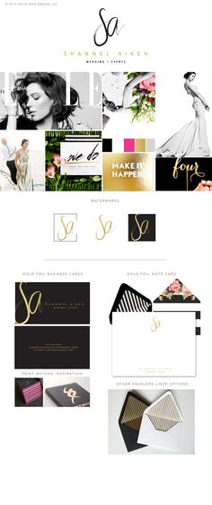 Blog — Leslie Vega Design - Brand Design For Photographers and Creative Professionals   Shannel Aiken Wedding + Events  Brand identity board, black, gold, hot pink, color palette,  modern, bold, event planner brand, wedding planner branding, feminine brand
