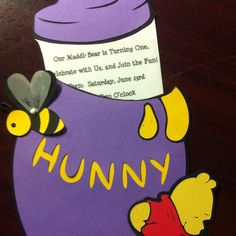 Handmade Winnie the Pooh First Birthday Invitations! The hunny pot lid slides out to reveal all the party info :) easy! Made with cricut expression 2...
