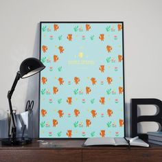 sweet spring with fox pattern illustration