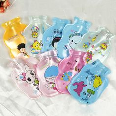 Cartoon Printed PVC Explosion-proof Hot Water Bag Pearl Light Bottle Shape Hand Warmer Storage Water Bag Random Color