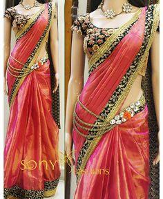 Shreeji Nx - Lovely Pink Silk Designer Saree