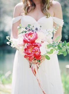 Vibrant Peony Bridal Bouquet | Heather Payne Fine Art Photography | http://heyweddinglady.com/enchanted-garden-wedding-colorful-summer-florals/