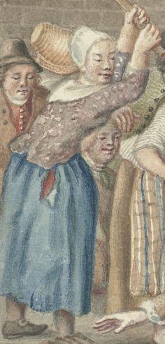 """1768 Detail of """"Een man die zijn vrouw had geslagen wordt in de Vinkestraat te Amsterdam door een groep vrouwen bestraft"""" (A man who had beaten his wife is punished in the Vinkenstraat Amsterdam by a group of women) by Anthonie Drost.  Women -- Clothing & Dress -- Netherlands -- 1700-1799. Dutch 18th century costume."""