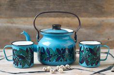 MINT Finel Turquoise / Blue  Enamel Teapot Set - Arabia Finland on Etsy, $240.00