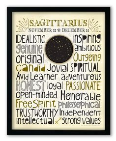 Designed with a snug-fit full page of typography, this print highlights the positive traits that are commonly associated with each astrological sign. A unique m