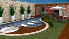 Resultado de imagen de piscina pequena com deck e churrasqueira