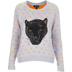 TOPSHOP Knitted Panther Spot Jumper found on Polyvore featuring polyvore, fashion, clothing, tops, sweaters, blouses, grey marl, jumper, knitwear and grey sweater