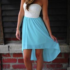 Dress: teal white high-low, cute for graduation