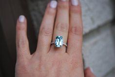 Aquamarine Ring 14k White Gold Halo Engagement by EidelPrecious