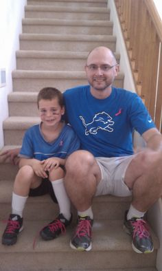 My son and I supporting Breast Cancer Awareness Month during our flag football season.