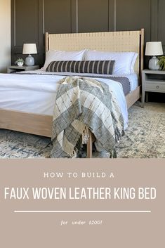 How to build a faux woven leather king bed. Full tutorial, DIY plans to build a woven leather headboard. Headboard Ideas, King Headboard, Headboards, Leather Bed Frame, Leather Headboard, Diy Furniture Projects, Home Furniture, Diy Projects, Bed Legs