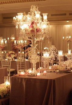 wedding centerpieces with dripping crystals