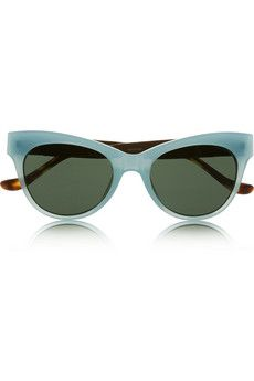 The Row Cat-eye acetate and leather sunglasses { in Pale-Turquoise with a Red Leather and Tortoise Shell trim }