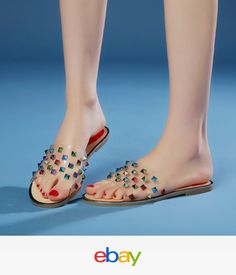 Women s Open Toe Slides Slipper Comfort Summer Sandals Rivet Roma Beach  Shoes 967d66dc8fe1