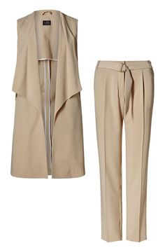 Marks & Spencer Slim Leg Belted Trousers and Waterfall Jacket