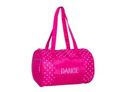 """Light pink or black polka dots against a vibrant bright pink or black background help this little duffel stand out in a crowd! It is accented with """"Dance"""" embroidered in white thread on the front open pocket. Dance Tights, Dance Bags, Pink Polka Dots, Duffel Bag, Dance Wear, Bright Pink, Black Backgrounds, Gym Bag, Accessories"""