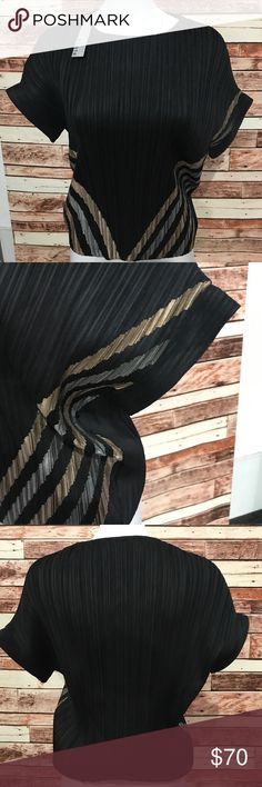 Haute Hippie Black Ribbed W/Metallic Stripes Please use photos as reference to condition and what is included. Haute Hippie Tops Blouses