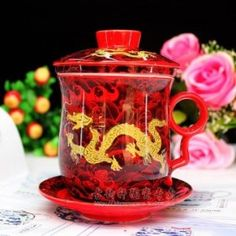 Ufingo-Red Dragon Bone China Ceramic Porcealin Chinese Tea Cup With Lid And Saucer Dragon Bones, Red Dragon, Tea Cup With Lid, Chinese Tea Cups, Bone China, Valentine Gifts, Ceramics, Gift Ideas, Mugs