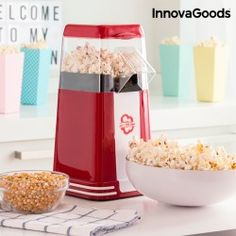 InnovaGoods Hot & Salty Times Hot Air Popcorn Maker 1200W Red