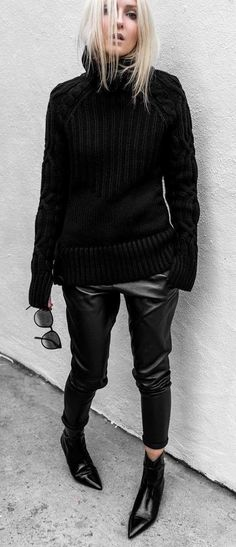 amazing black outfit idea : sweater leather skinnies boots