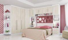 Quarto de Casal Modulado Classic Branco/Damasco - Incolar | Lojas KD