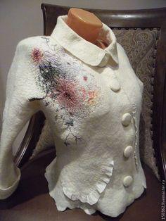"""Купить Жакет ручной работы """"Bonjour, Paris!"""" - 100% шерсть меринос, натуральный жемчуг"""