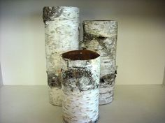 Sets of 3 vases) Birch bark covered glass vases for woodland, rustic, nature eco-friendly wedding or home. Handmade in NH centerpiece vasescenterpiece vases Birch Bark Crafts, Cosy House, Mason Jar Candles, Vase Centerpieces, Candle Stand, Wedding In The Woods, Diy For Girls, Flower Vases, Dried Flowers