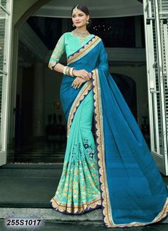 Picturesque Green Coloured Georgette Embroidered Saree