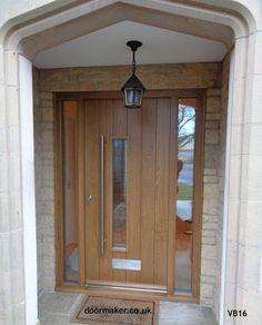 Contemporary Front Doors, oak iroko and other woods, Bespoke Doors Front Door Canopy, Oak Front Door, Front Door Porch, Grey Front Doors, Porch Doors, Front Door Entrance, House Front Door, Front Door Design, Front Door Colors