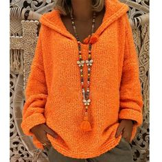 Shopping Hooded Plain Loose Long Sleeve Knitting Sweaters online with high-quality and best prices Sweaters at Luvyle. Mode Plus, Winter Fashion Casual, Pullover Hoodie, Hooded Sweater, Pulls, Types Of Sleeves, Ideias Fashion, Sweaters For Women, Casual Outfits