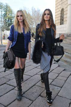uglyducklingturnedblackswan:  Anne Vyalitsyna  Izabel Goulart @ Milan Fashion Week Fall 2012