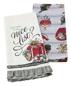Take a look at this White Vintage Presents Tea Towel - Set of Two today!