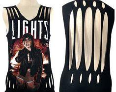 Cut up band shirt - Lights band tee - shredded tank top - Shredded band tshirt - upcycled shirt - festival shirt