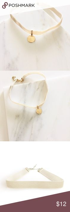 NWT || Ivory Gold Velvet Disc Charm Choker Super cute ivory velvet choker with gold disc charm. Can be removed (see pic 3). Adjustable length. Bundle 2 and save 10%! No trades! Jewelry Necklaces