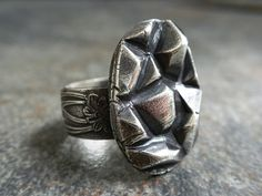 Silver Statement Ring Geometric Abstract Triangle by Serrelynda