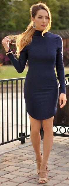 Navy Dress could definitely dress this up for fall