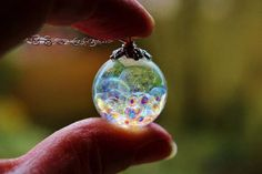 Fairy Necklace Fairy Jewelry Magical Necklace Rainbow Orb Fairy Orb Gift for Daughter Bubble Necklace Valentine Gift - Resin ball filled with magical pearls this ball measures around 20 mm I have hung on an 18 inch 9 - Magical Jewelry, Fairy Jewelry, Cute Jewelry, Jewelry Ideas, Resin Necklace, Resin Jewelry, Handmade Jewelry, Terrarium Necklace, Drop Necklace