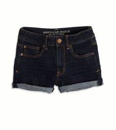AE Hi-Rise Denim Shortie | Color: dark rinse | 99% Cotton, 1% Elastane